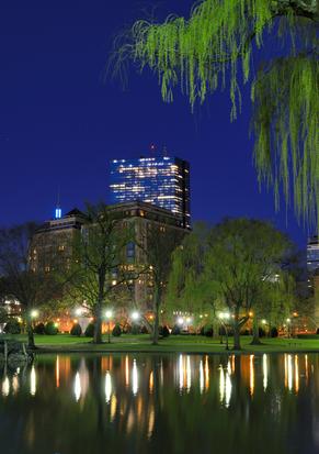 Skyline of Boston, Massachusetts from Boston Public Garden.